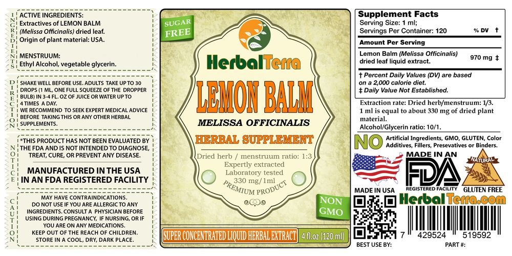 Amazon Lemon Balm Melissa Officinalis Tincture Organic Dried