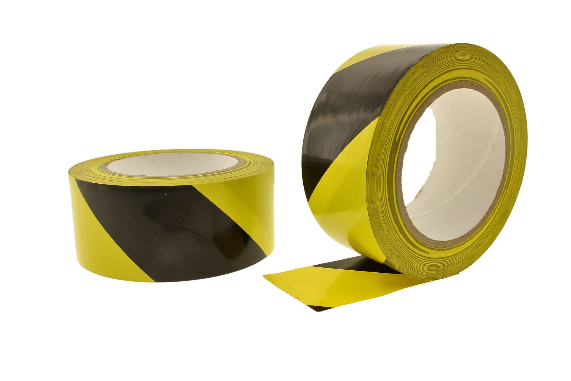 2pk 2'' Black Yellow OVER LAMINATED Durable Rubber Adhesive PVC Vinyl Sealing Coding Warning OSHA Caution Marking Safety Electrical Removable Floor Tape (1.88IN 48MM) 36 yard 9 mil