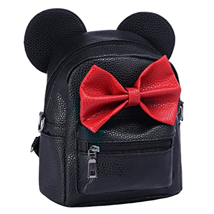 Amazon.com  Women Girls Cartoon PU Leather Mouse Ear Bow Backpack Shoulder  School Mini Bag Rucksack Black Red  IBTOM CASTLE ff20431761b45