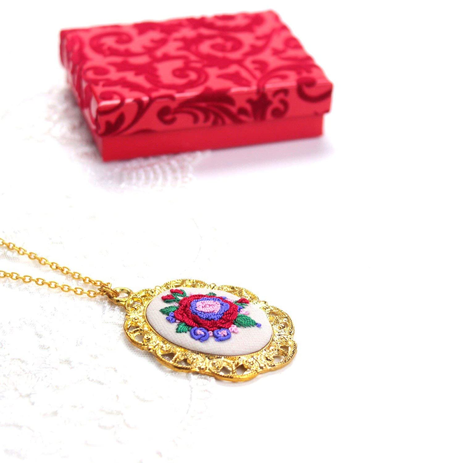 Golden Color Pendant with Hand Embroidered Flower Motifs Necklace for Women