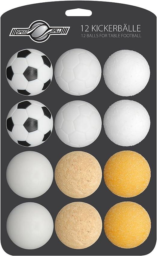 GOODS + GADGETS - Juego de 12 pelotas de futbolín para futbolín de mesa, futbolín de futbolín, selección de diferentes variedades (corcho, PE, PU, ABS) 35 mm: Amazon.es: Hogar