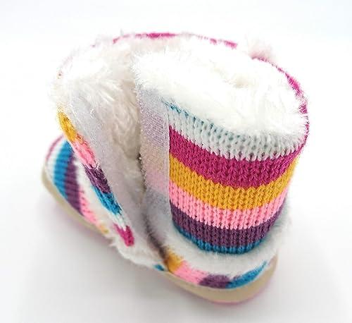 Babyschuhe M/ädchen Flexible Antirutschsohle Klettverschluss Regenbogenfarben Gr/ö/ßen 17-21 gl/ückspakete Krabbelschuhe warm gef/üttert