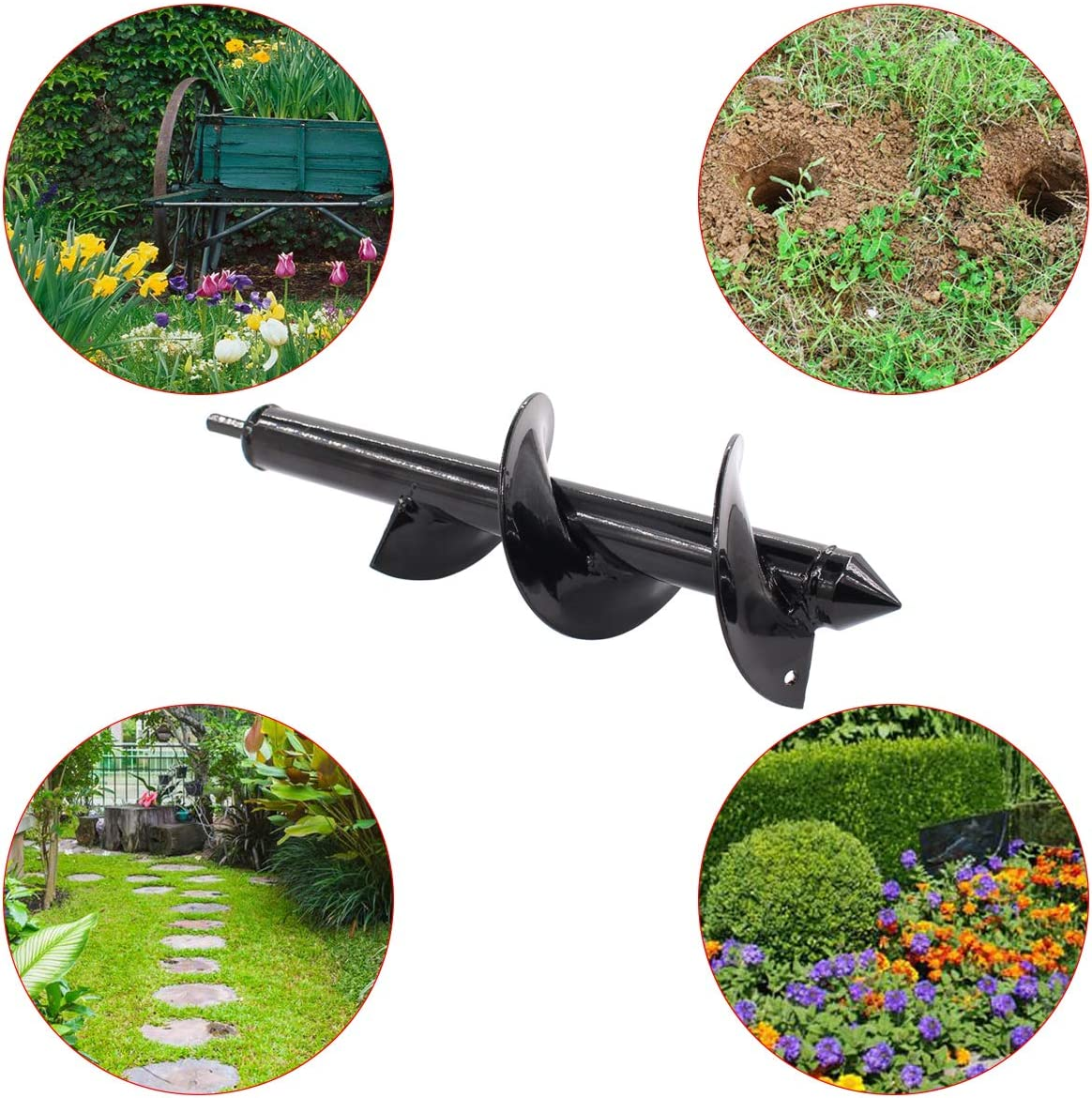 ApplianPar Auger Drill Bit for 3//8 Inch Hex Drive Drill Garden Plant Flower Rapid Planter and Bedding Plant Auger Fence Post Umbrella Hole Digger 3 x 12 Inch
