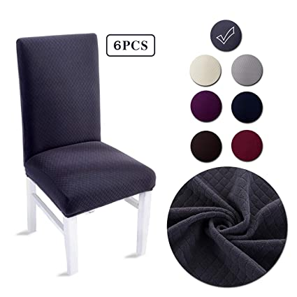 LAIKEUP Dining Room Chair Covers Set Of 6 Dark Grey Spandex Stretch Fabric Seat