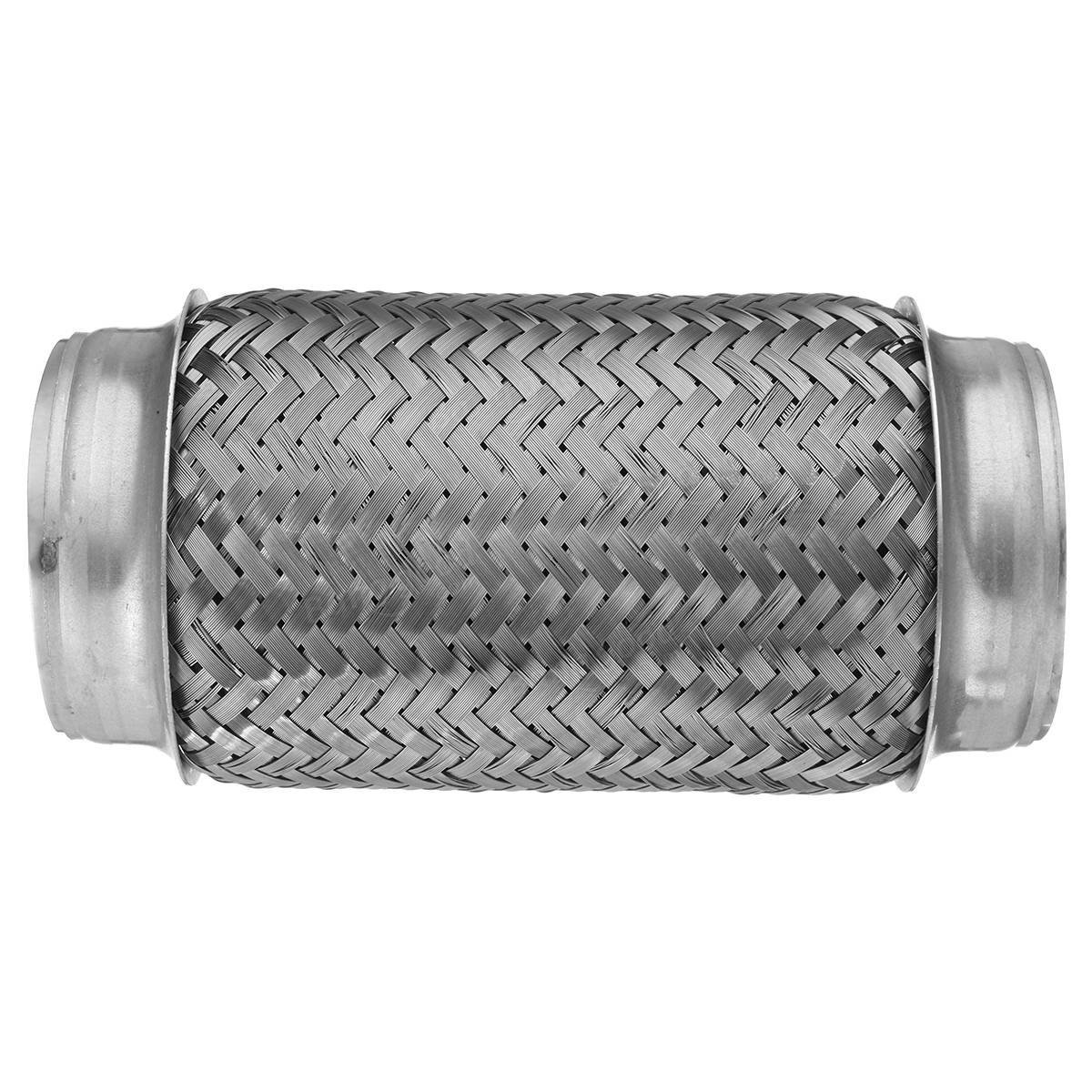 Bend Pipework - 3x8 Inch Flex Pipe Exhaust Stainless Steel Double Braid Duty Coupling Tube - Bending Tabor Pipage Inflection Shriek Flection Screech Flexion Organ - 1PCs