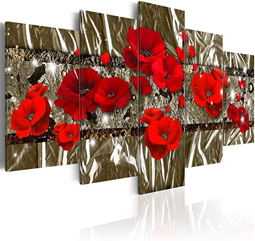Modern Canvas Wall Art Red Flower Painting Abstract Decoration Contemporary 5 Panels Print Picture Artwork Framed Ready to Hang