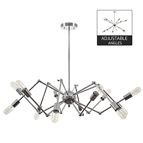 Light Society Arachnid 12 Chandelier Pendant Chrome Mid Century Modern Industrial Starburst