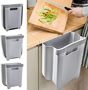 Canva Small Hanging Kitchen Trash Can, Collapsible Mini Garbage Bin Portable Rubbish Container for Kitchen Bathroom Toilet Office Car, Portable Home & Outdoor Garbage Can