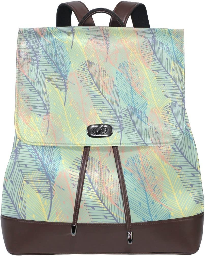 KUWT Abstract Leaf PU Leather Backpack Photo Custom Shoulder Bag School College Book Bag Rucksack Casual Daypacks Diaper Bag for Women and Girl