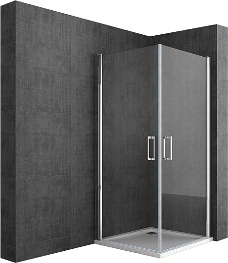BTH: 85 x 90 x 190 cm Diseño Mampara ravenna22 con doble puerta oscilante, cristal de seguridad de vidrio transparente cristal, asas para puerta de acero inoxidable, incluye dos caras al nano-recubrimiento: