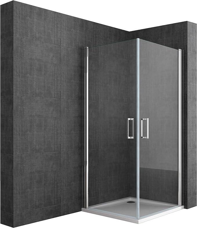BTH: 85 x 100 x 190 cm Diseño Mampara ravenna22 con doble puerta oscilante, de cristal de seguridad monocapa Cristal Transparente, giratoria, incluye dos caras al nano-recubrimiento: Amazon.es: Bricolaje y herramientas