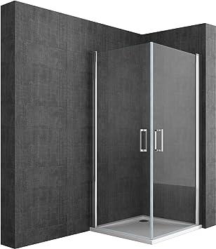 BTH: 80 x 85 x 190 cm Diseño Mampara ravenna22 con doble puerta oscilante, cristal de