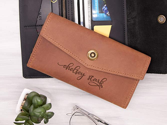 6a2fbe010ed585 Personalized Leather Womens Wallet Birthday Gift for Her Engraved Large  Leather Wallet Anniversary Gift for Wife Ladies Wallet Womens Gift Custom  Women ...