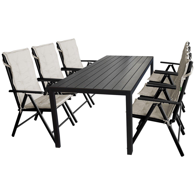 13tlg. Gartenmöbel Terrassenmöbel Set Sitzgruppe Sitzgarnitur Gartengarnitur - Gartentisch, Polywood Tischplatte, 205x90cm + 6x Hochlehner, Textilenbespannung, 7 Positionen, klappbar + 6x Stuhlauflage, beige