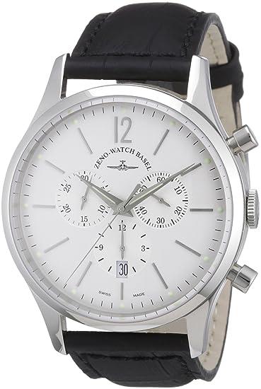 Zeno Watch Basel 6564-5030Q-i2 - Reloj analógico de cuarzo para hombre con correa de piel, color negro: Amazon.es: Relojes
