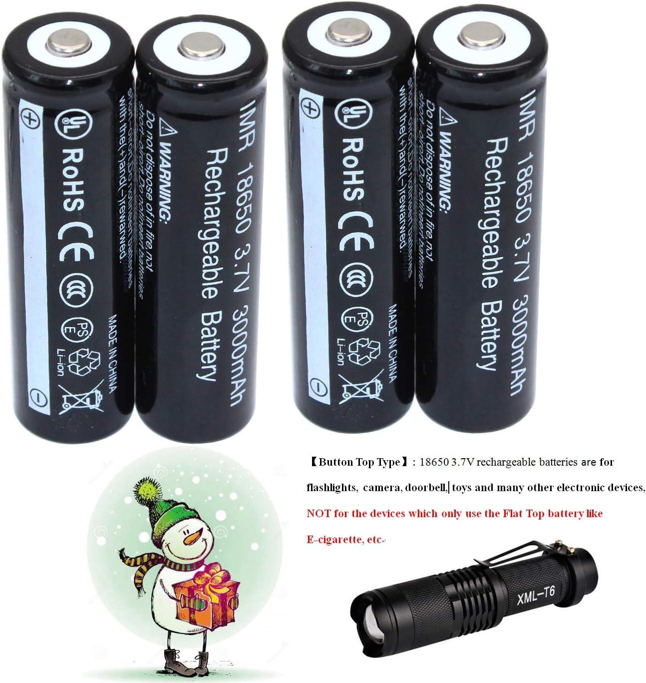 Pilas recargables 18650 de 3,7 V de Iones de litio, paquete de 4 + linterna LED de regalo