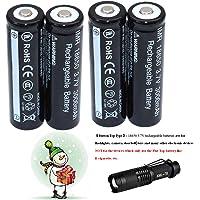 4 pcs 18650 3.7V recargable Li-ion Brand New Batería + Linterna LED