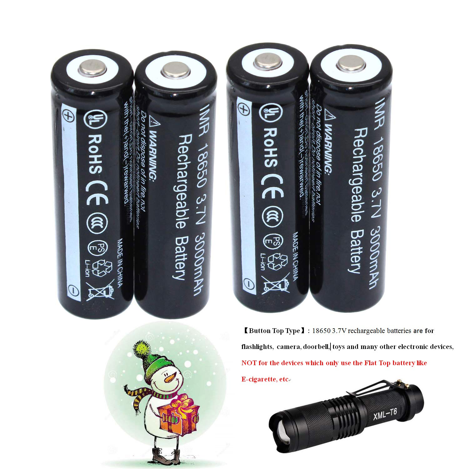 2 Pieces Batteries for Powerful LED Head Torches Headlamps Flashlights Universal UK Standard BS1363 Plug High Power 3.7V 18650 Batteries with Charger Kit Not for E-cigs