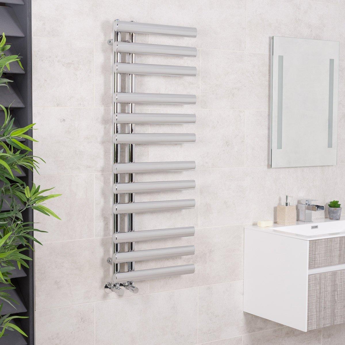 Sè che-serviettes eau chaude Kristiansund 382W - 1200 x 450mm - Droit - Chrome WarmeHaus