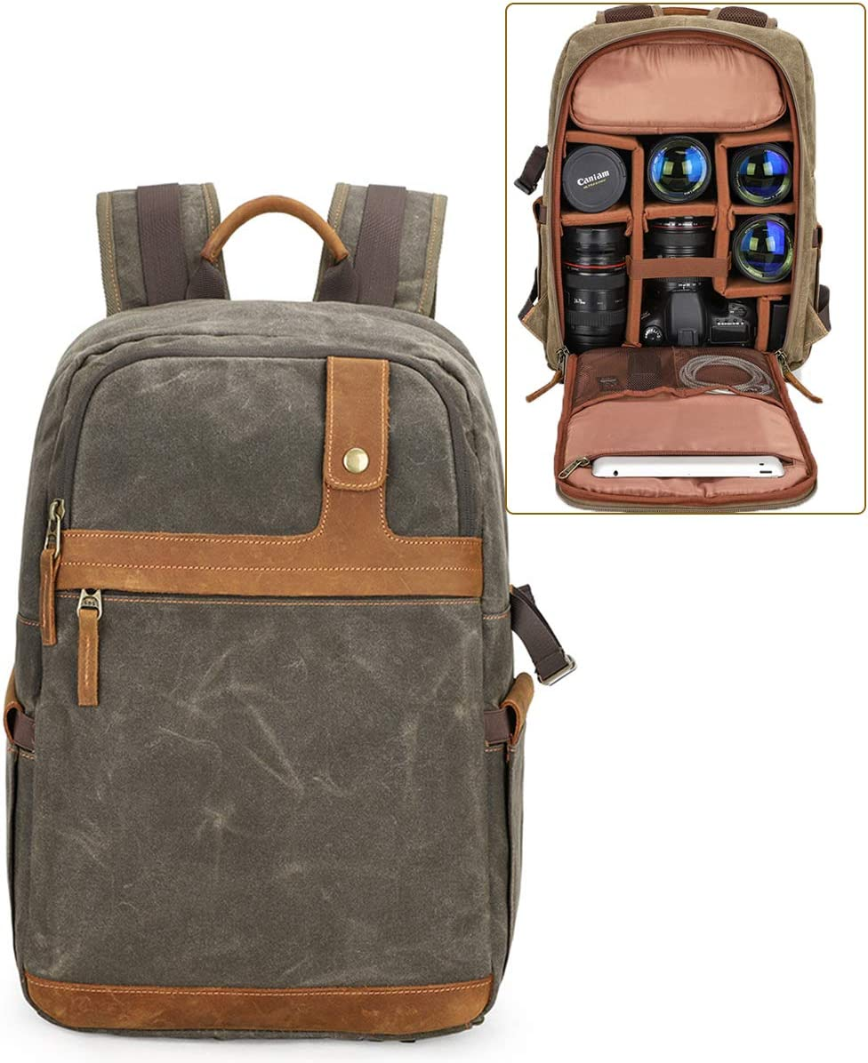 Rain Cover Padded Custom Dividers Laptop Compartment Long-Lasting Durability Compatible with Many Dslrs,Green OLDFAI Camera Bag Large DSLR Shoulder with Tripod Holder