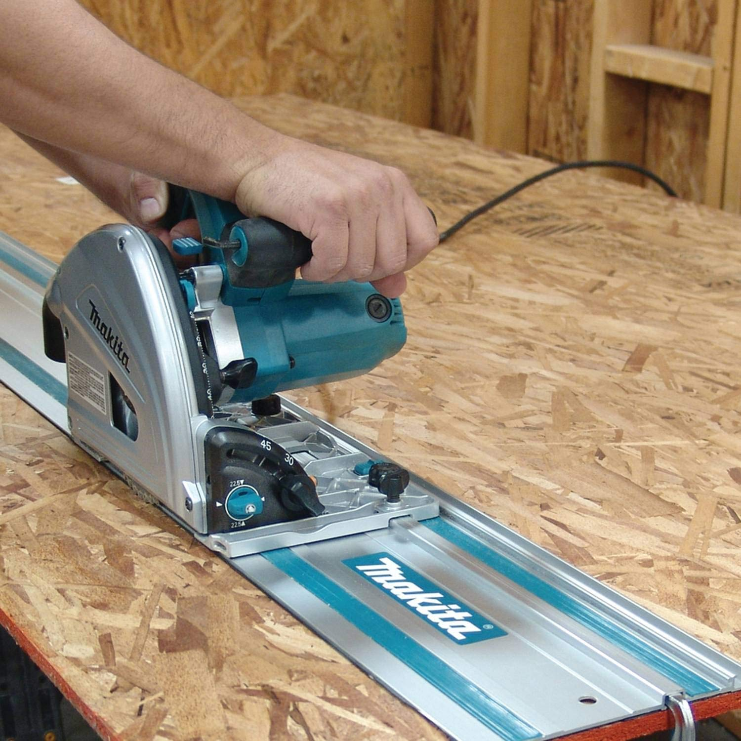 image of makita track saw in use