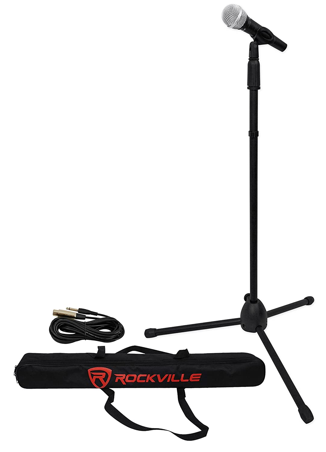 Rockville Pro Mic Kit 1-High-End Metal Microphone Plus Mic Stand Plus Carry Bag Plus Cable Audiosavings
