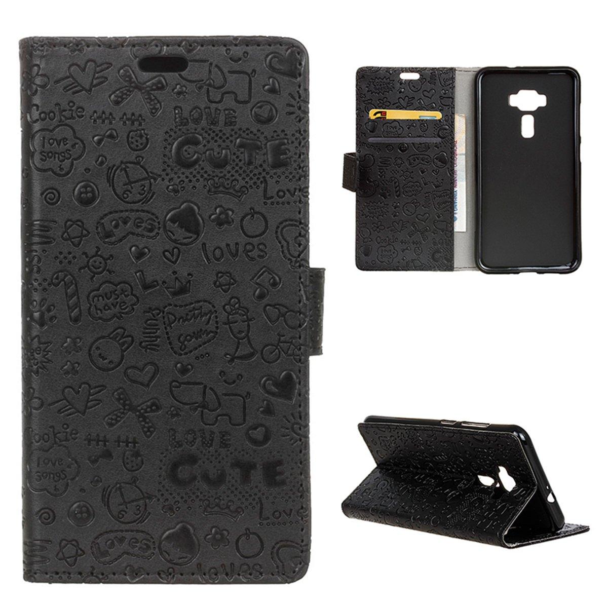Asus ZenFone 3 Neo ZE520KL 5.2 Custodia, adorehouse Custodia a Libro in Pelle Cover Flip Case [Slot porta carta] [Supporto] Portafoglio Custodia per Asus ZenFone 3 Neo ZE520KL 5.2 (Bianca)