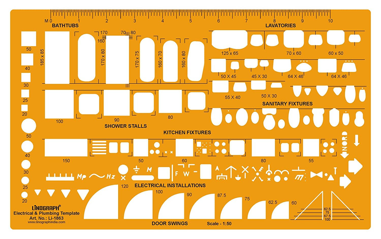 Linograph electricidad y fontanería plantilla Aparatos sanitarios escala de dibujo, color naranja: Amazon.es: Oficina y papelería