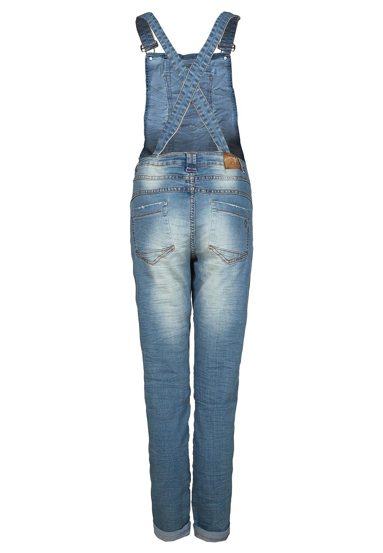 Fresh Made Damen Jeans Latzhose | Denim Boyfriend Cut im Stone Washed Look und Used Look | Top Qualität Dank hohem Baumwollanteil