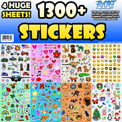 Sticker Sheet Assortment Set, 1300+ Stickers, Year Round Variety Pack by Rycast, for Children, Kids, Parents, Teachers, School, Crafts, Calendars, Planners, Scrapbooks, (Happy Halloween Funny Pets)