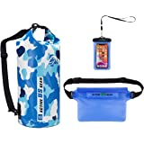 Premium Waterproof Dry Bag with Phone Pouch and Waist Bag 5L/10L/ 20L/30L,Travel Gear for Kayaking, Swimming,Rafting…