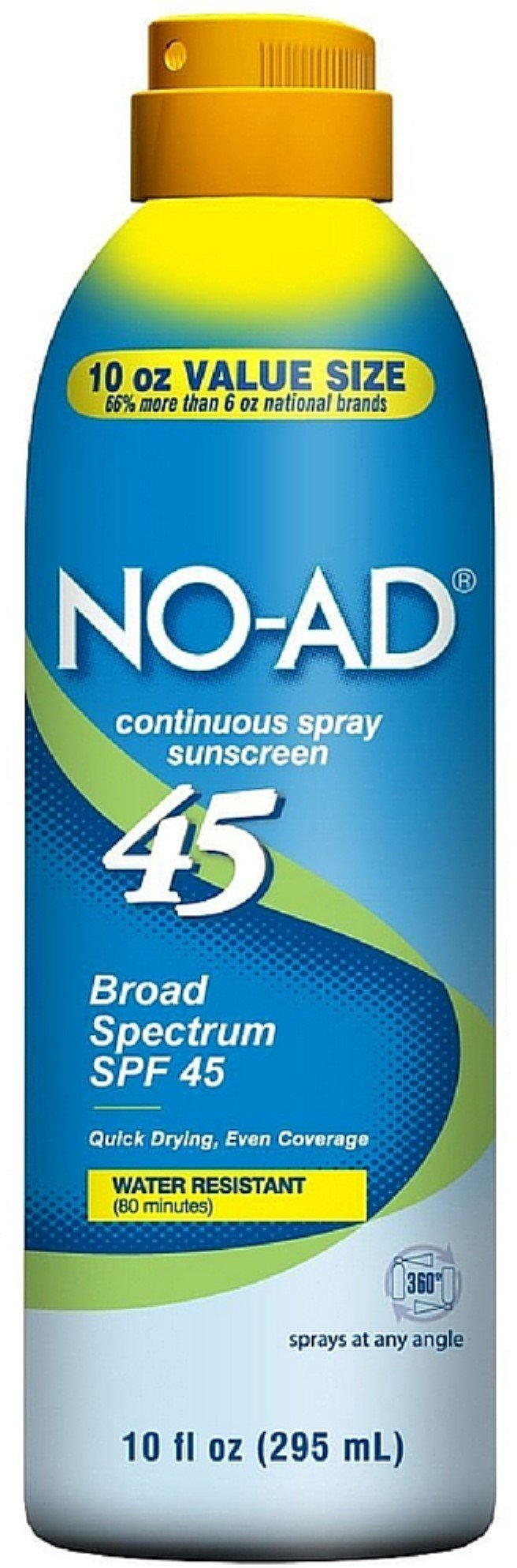 NO-AD Water Resistant Continuous Spray Sunscreen SPF 45 10 oz (Pack of 9)