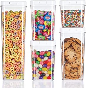 mDesign Airtight Food Storage Container Combo Pack with Lid for Kitchen, Pantry, or Cabinet - Cereal, Snacks, Pasta, Candy, Rice, Beans, Baking - BPA Free, Set of 5 - Clear