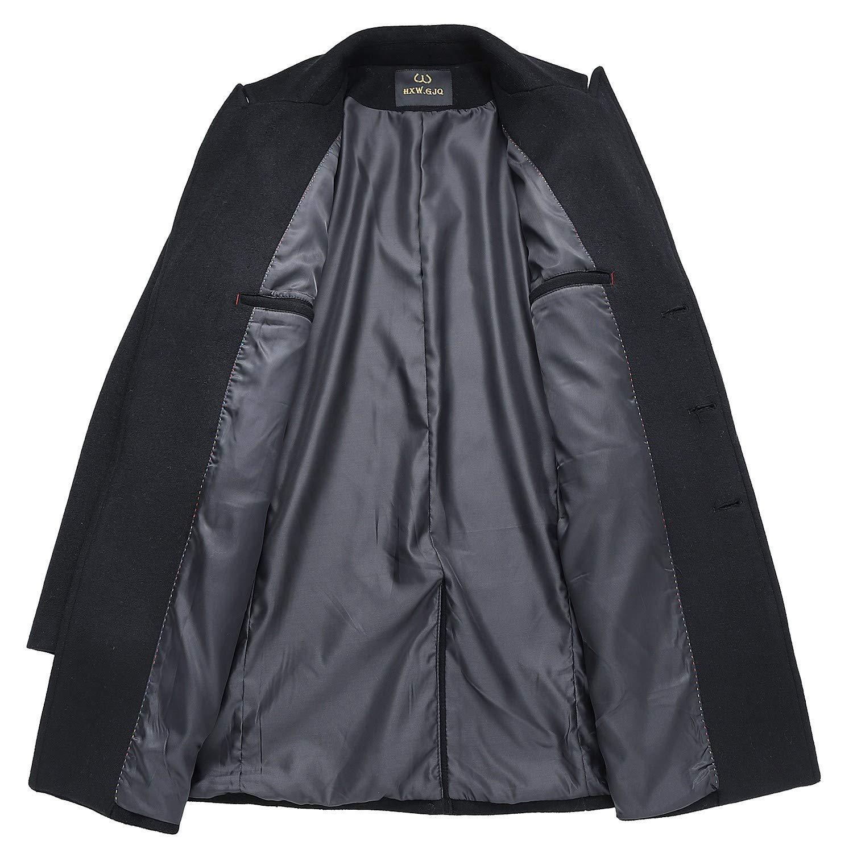 79f9fec2 Men's Premium Wool Blend Double Breasted Long Pea Coat | eBay