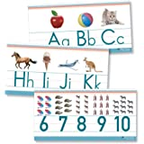 Alphabet & Numbers Classroom Wall Line for Teaching ABCs Young N Refined (White Glossy Paper)