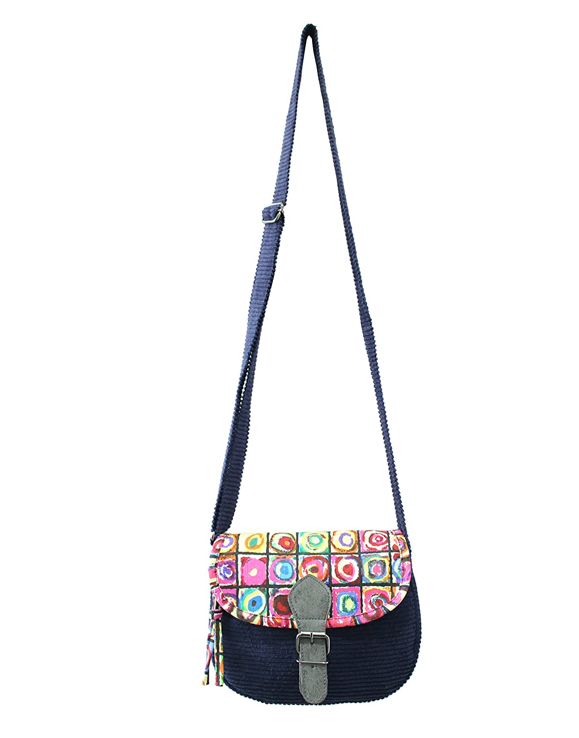 Anekaant Women's Whimsical Corduroy and Printed Canvas Sling Bag - Assorted