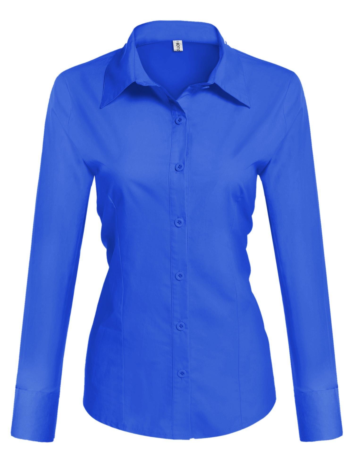 HOTOUCH Women's Collared Button Down Long Sleeve Dress Shirt (Royal Blue M)