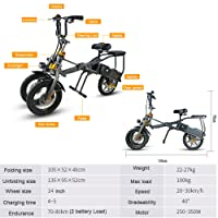 SMLRO Electric Bike with Two Batteries Electric Tricycle Bike Scooter 14 Inch 250W 36V 14.4A H Li-Battery Powerful Bike Tricycle Scooter for Adult/Kids Folding 1 Second