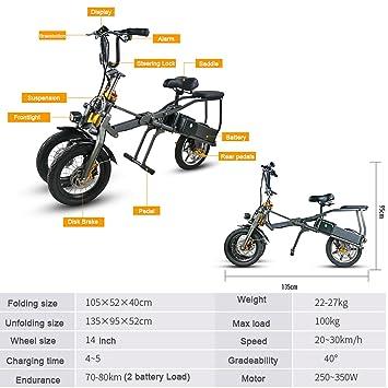 JX smlro bicicleta eléctrica con dos baterías triciclo eléctrico bicicleta Scooter 14 pulgadas 250 W 36