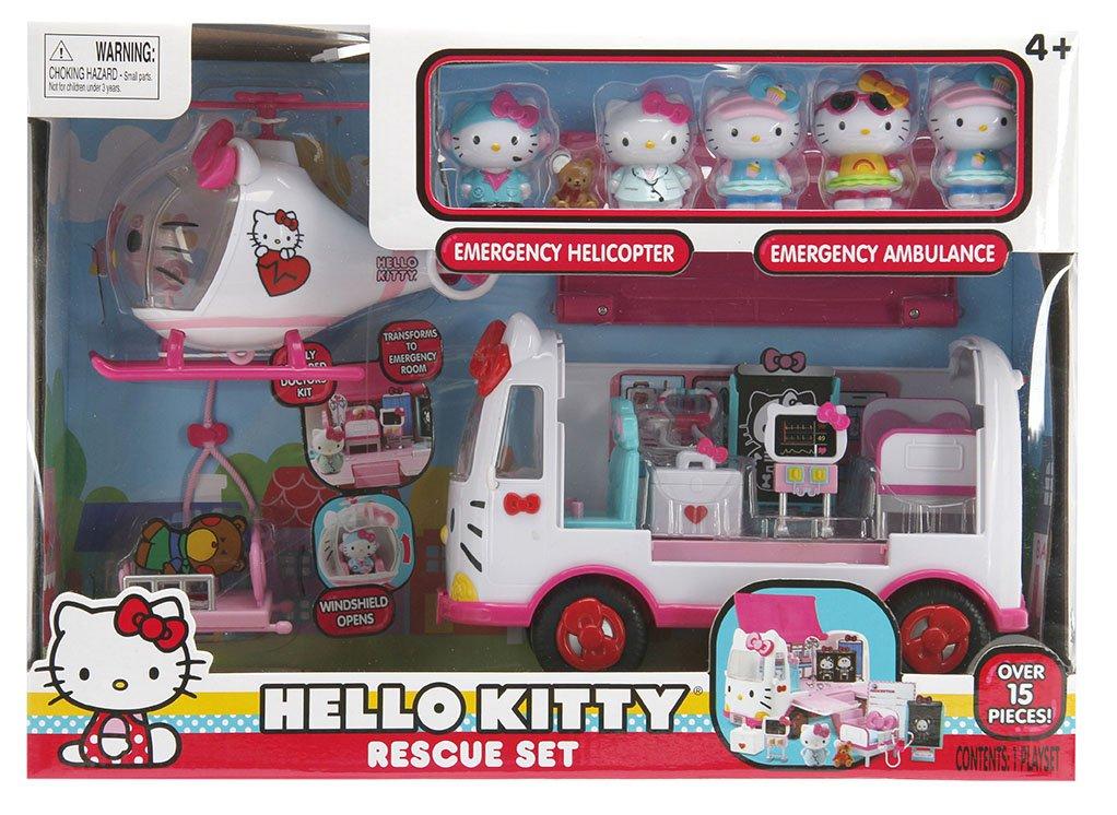 4b2451841b0b Amazon.com  Jada Hello Kitty Rescue Set with Emergency Helicopter    Ambulance Playset
