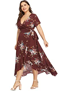 3a110ca05a7 Milumia Plus Size Short Sleeves Wrap V Neck Belted Empire Waist  Asymmetrical High Low Bohemian Party