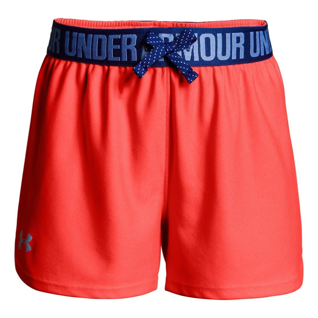Under Armour Girls Play Up Short, Coral/Blue/Blue, YXS
