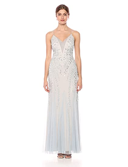 4a89f941710 Adrianna Papell Women s Plunging V Illusion Neckline Mesh Beaded Long  Evening Dress