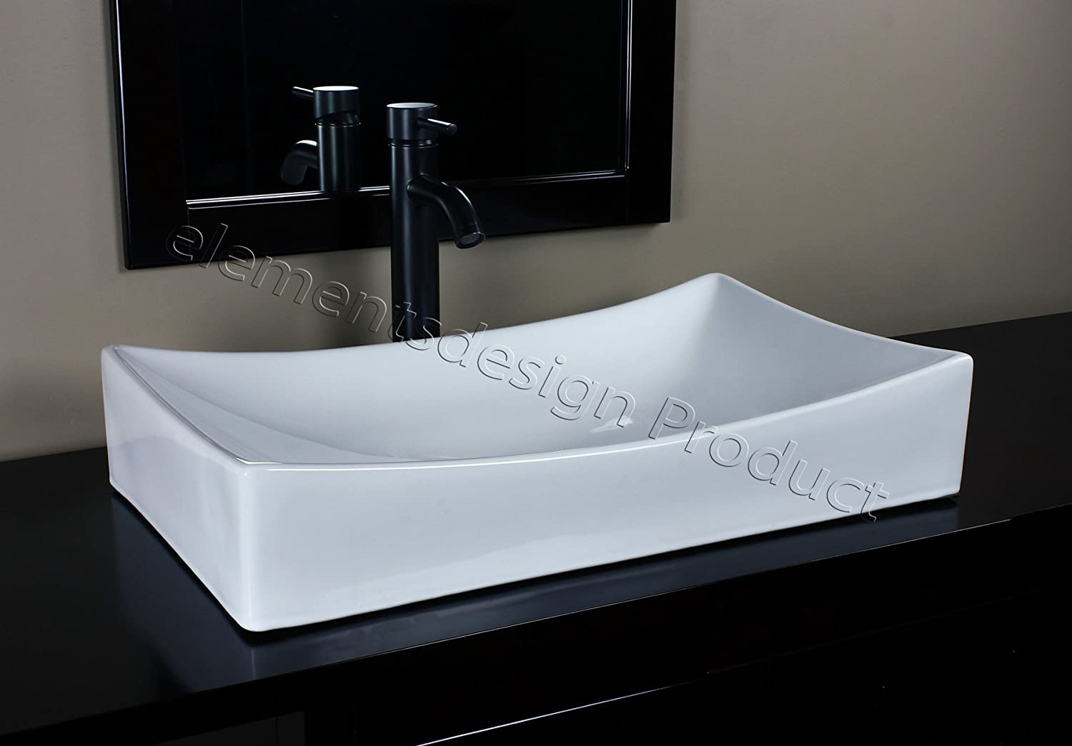 Bathroom White Ceramic Porcelain Vessel Sink 7235E3 Oil Bronze faucet Drain