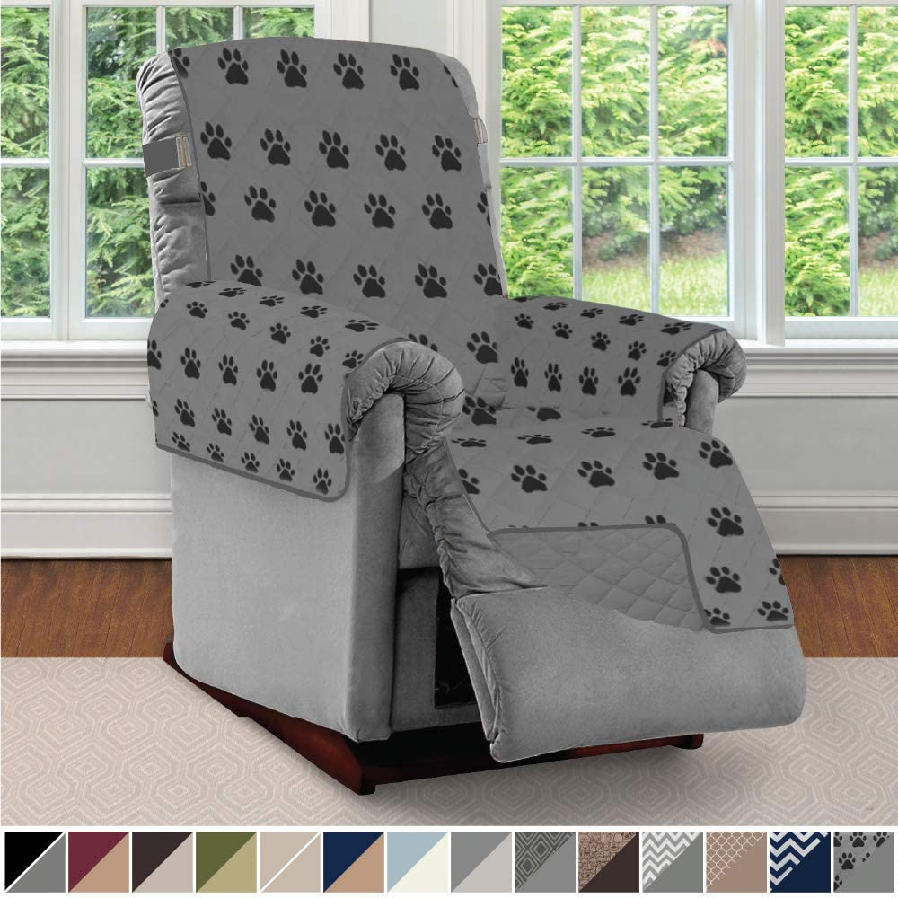 Sofa Shield Original Patent Pending Reversible Recliner Slipcover, 2 Inch Strap Hook Seat Width to 25 Inch Washable Slip Cover Furniture Protector for Recliners, Pets, Small Recliner, PAW Gray Black