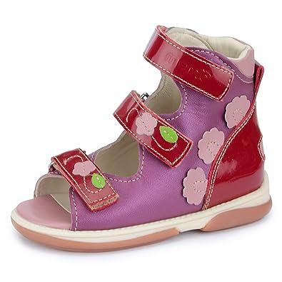 d2c1b290b9 Memo Shoes Viki Corrective Orthopedic AFO Leather Sandal, Pink, 22 (6 US  Toddler