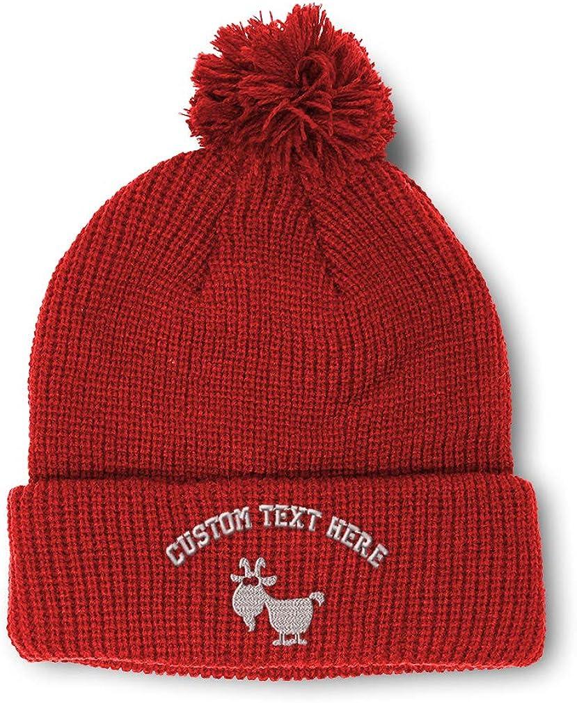 Custom Pom Pom Beanie White Goat Embroidery Skull Cap Winter Hat for Men /& Women