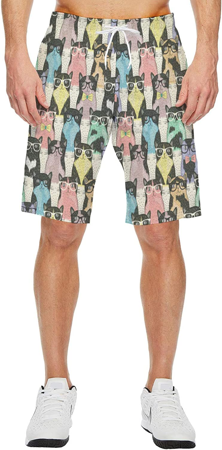 Mens Lightweight Slim Fit Quick Dry Beach Shorts Color Butterfly Cartoon Sticker Surf Beach Pants with Mesh Lining