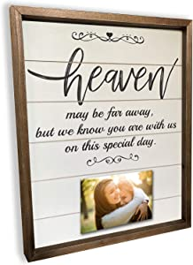 Brookfield Products Heaven Wedding Sign to Honor Those no Longer with us with Personal Photos. Beautiful Decoration displays on a Bridal Table or Chair at Any Wedding Ceremony or Reception.