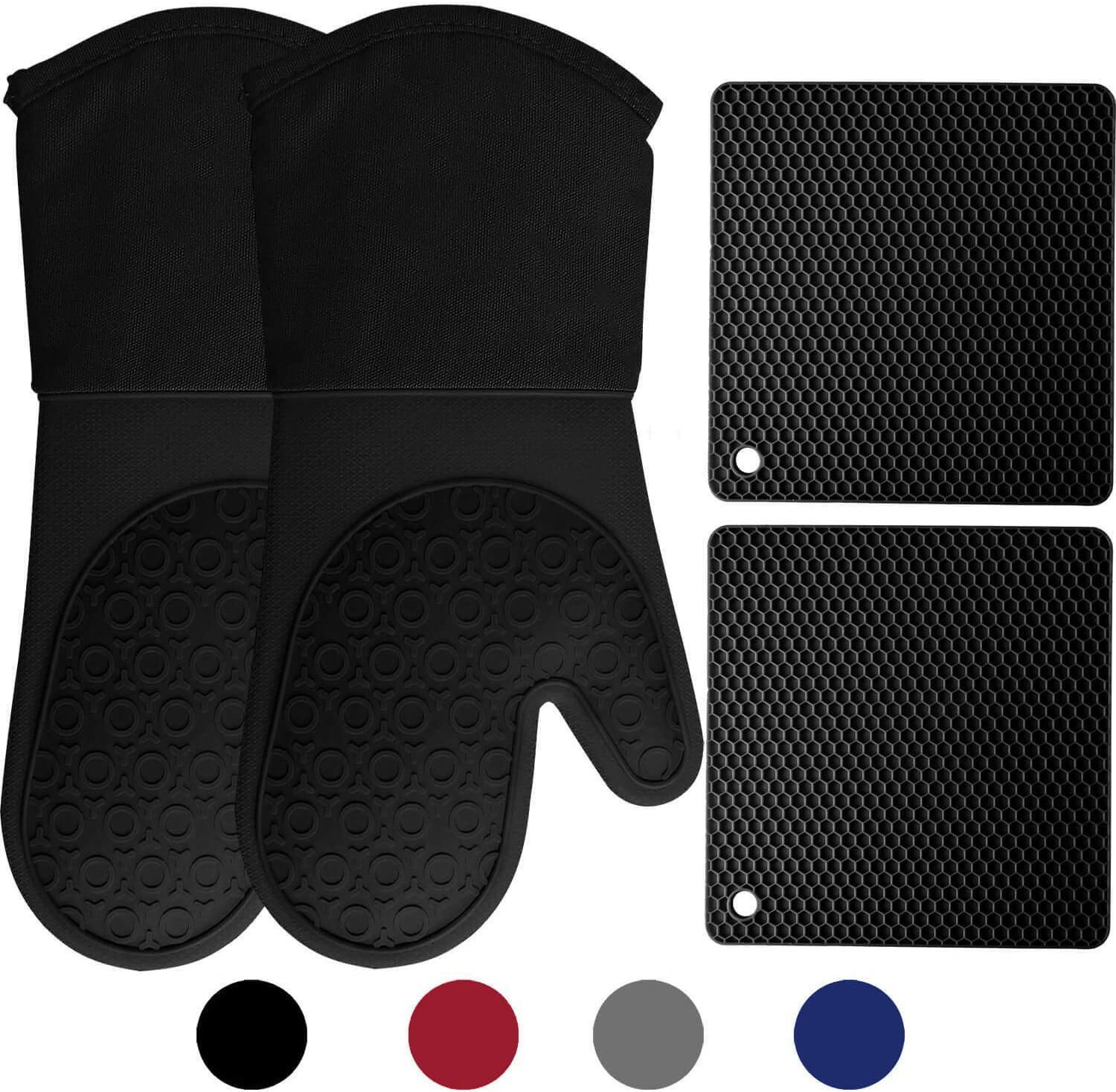 HOMWE Silicone Oven Mitts and Pot Holders, 4-Piece Set, Heavy Duty Cooking Gloves, Kitchen Counter Safe Trivet Mats, Advanced Heat Resistance, Non-Slip Textured Grip, Black: Home & Kitchen